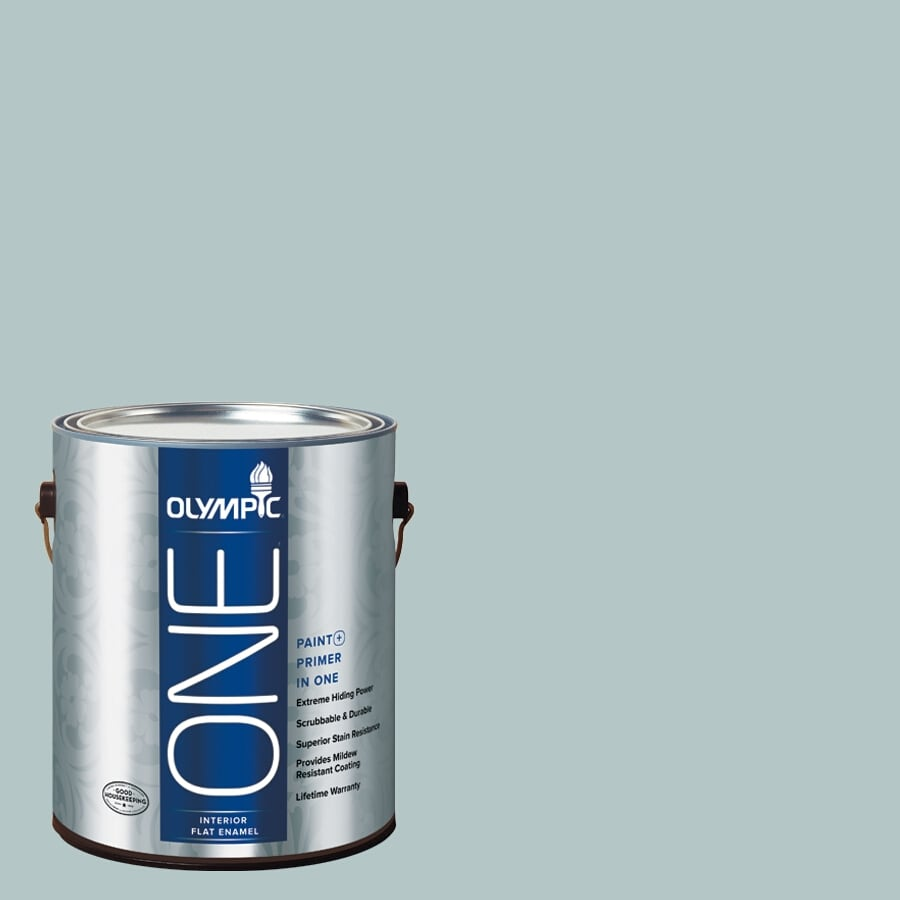 Olympic ONE Misty Surf Flat Latex Interior Paint and Primer In One (Actual Net Contents: 124-fl oz)