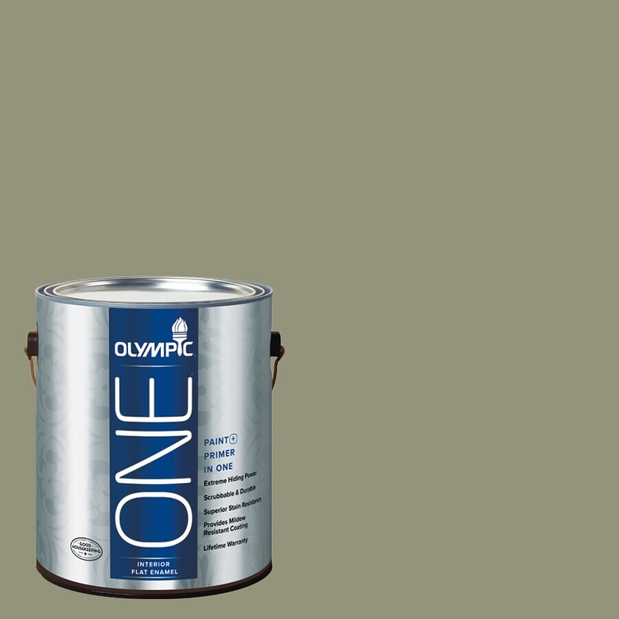 Olympic ONE Cavern Moss Flat Latex Interior Paint and Primer In One (Actual Net Contents: 116-fl oz)