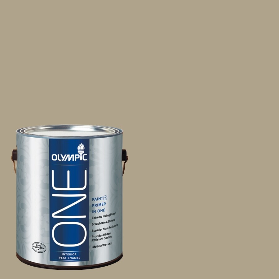 Olympic ONE Olive Gray Flat Latex Interior Paint and Primer In One (Actual Net Contents: 116-fl oz)