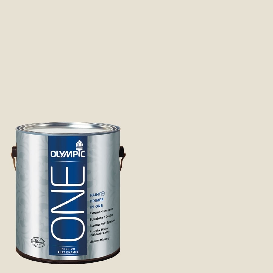 Olympic One Off White Flat Latex Interior Paint And Primer In Actual Net Contents 124 Fl Oz