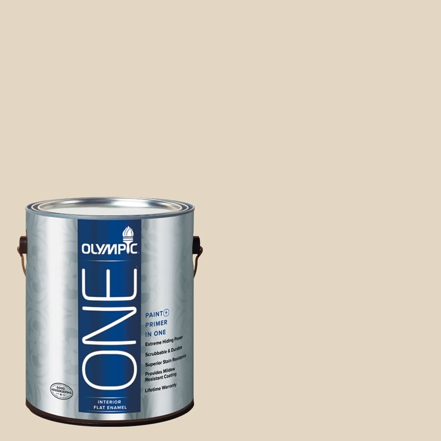 Olympic ONE BONE White Flat Latex Interior Paint and Primer In One (Actual Net Contents: 124-fl oz)
