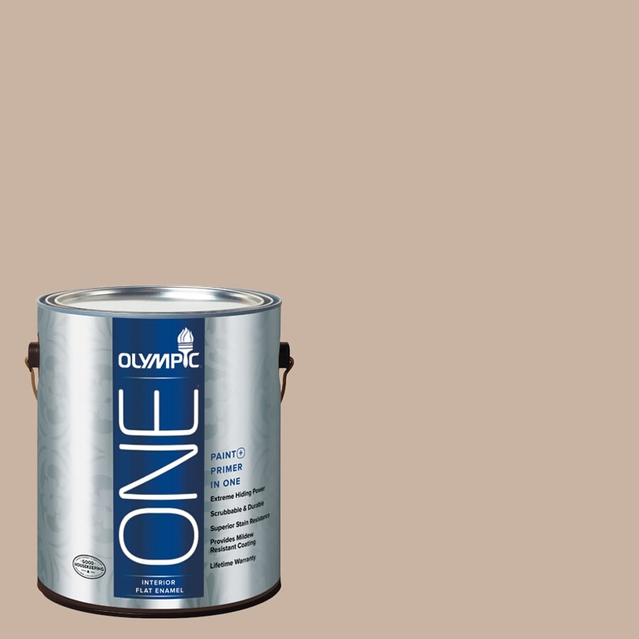 Olympic ONE Timeless Taupe Flat Latex Interior Paint and Primer In One (Actual Net Contents: 124-fl oz)