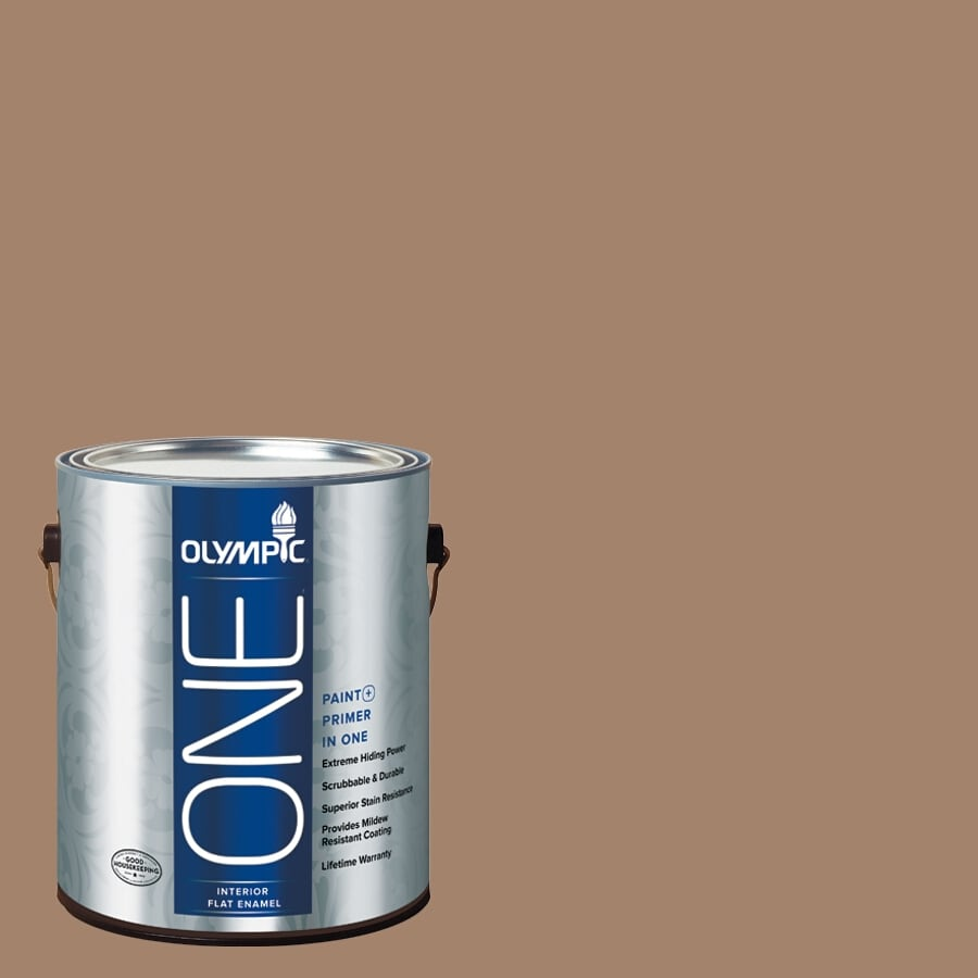 Olympic ONE Iced Tea Flat Latex Interior Paint and Primer In One (Actual Net Contents: 116-fl oz)