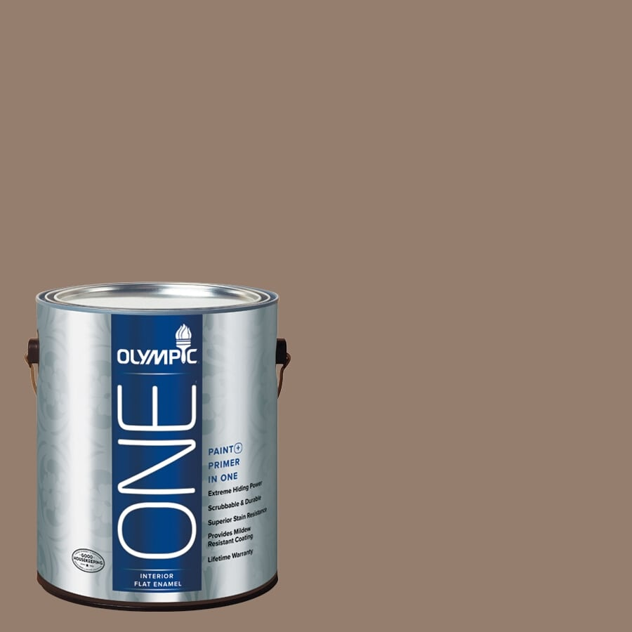 Olympic ONE English Saddle Flat Latex Interior Paint and Primer In One (Actual Net Contents: 116-fl oz)