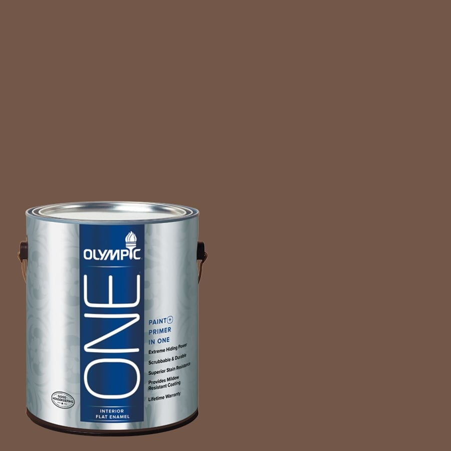 Olympic ONE Chocolate Curl Flat Latex Interior Paint and Primer In One (Actual Net Contents: 114-fl oz)