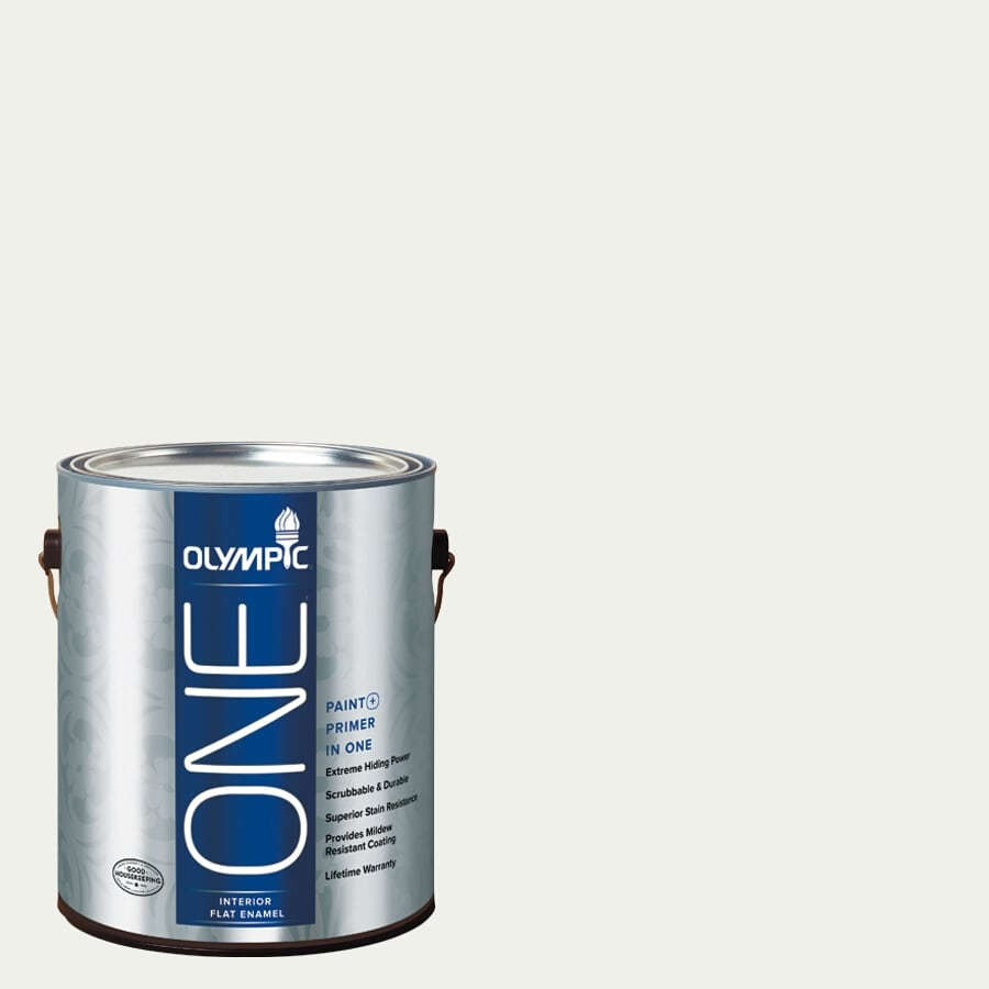 Olympic ONE Delicate White Flat Latex Interior Paint and Primer In One (Actual Net Contents: 124-fl oz)