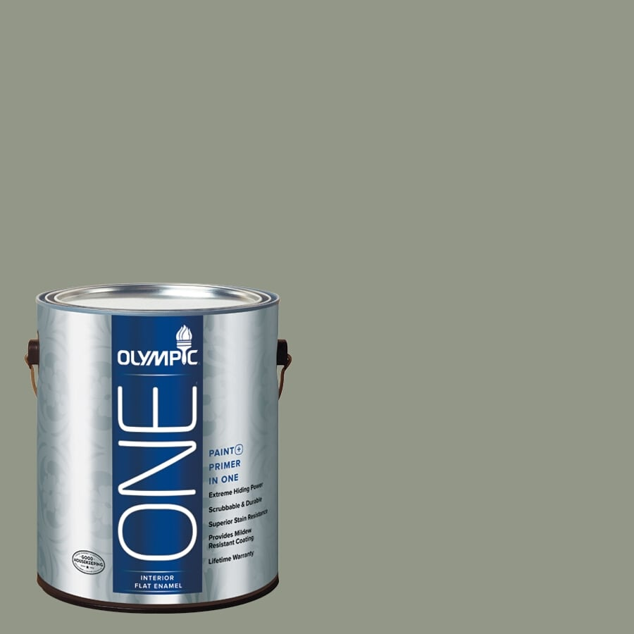 Olympic ONE Green Tea Leaf Flat Latex Interior Paint and Primer In One (Actual Net Contents: 116-fl oz)
