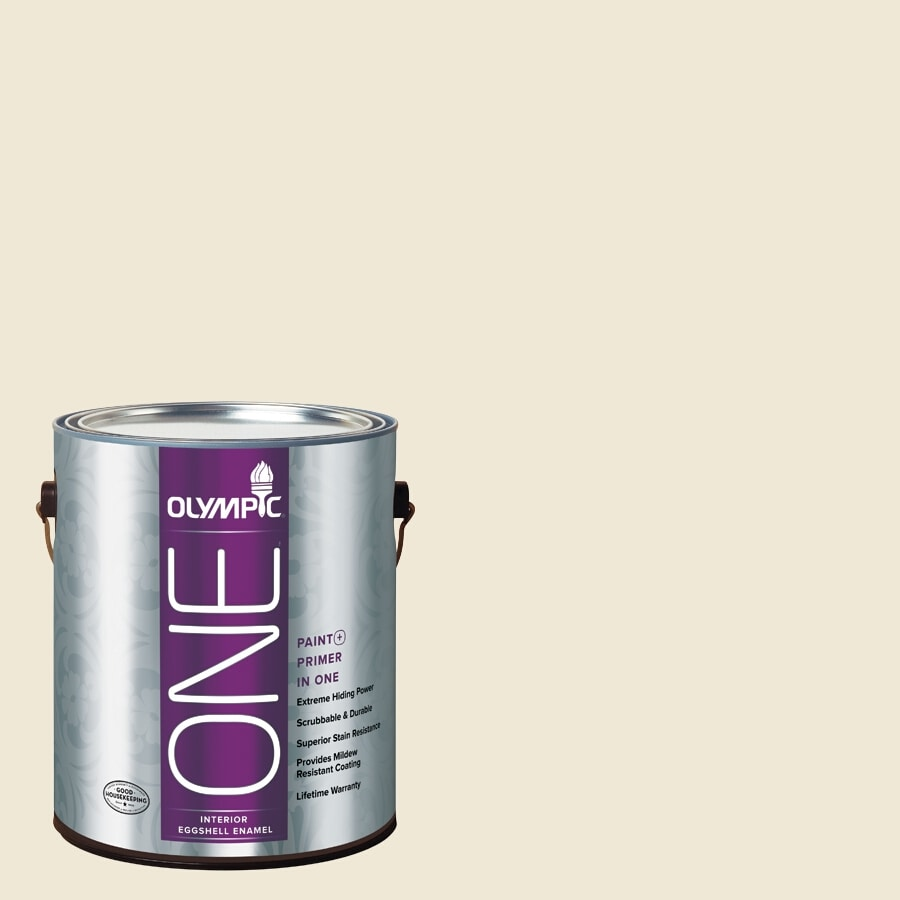 Olympic ONE Creamy White Eggshell Latex Interior Paint and Primer In One (Actual Net Contents: 124-fl oz)