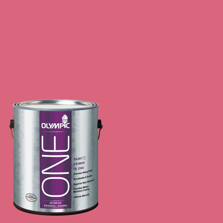 Olympic ONE Raspberry Rush Eggshell Latex Interior Paint and Primer In One (Actual Net Contents: 114-fl oz)