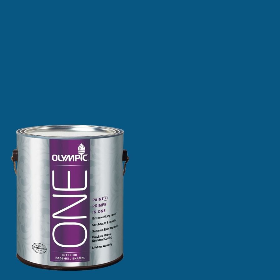 Olympic ONE Brilliant Blue Eggshell Latex Interior Paint and Primer In One (Actual Net Contents: 114-fl oz)