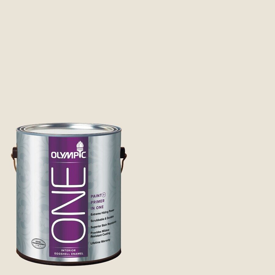 Olympic ONE Colonial White Eggshell Latex Interior Paint and Primer In One (Actual Net Contents: 124-fl oz)