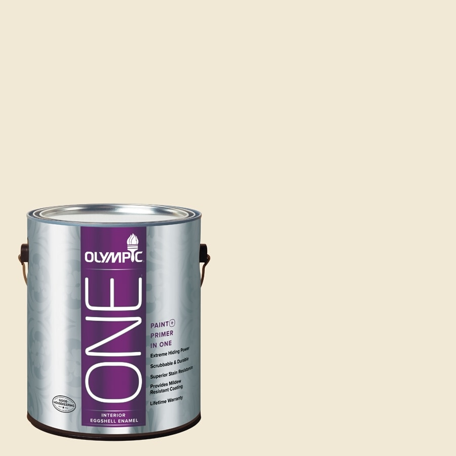 Olympic ONE Adobe White Eggshell Latex Interior Paint and Primer In One (Actual Net Contents: 124-fl oz)