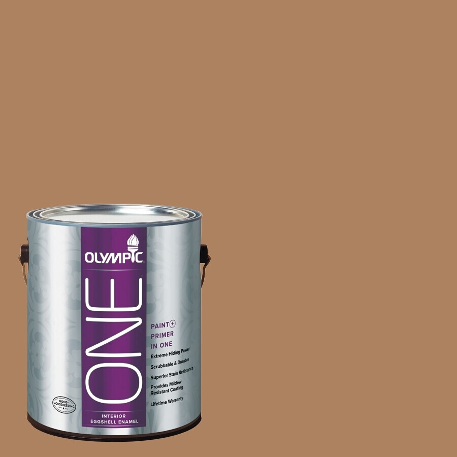 Olympic ONE Bronco Brown Eggshell Latex Interior Paint and Primer In One (Actual Net Contents: 114-fl oz)