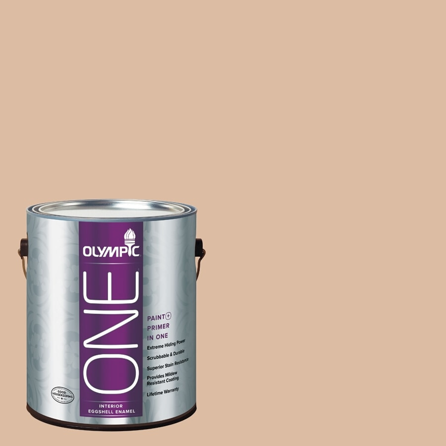 Olympic ONE Weathered SandstONE Eggshell Latex Interior Paint and Primer In One (Actual Net Contents: 124-fl oz)