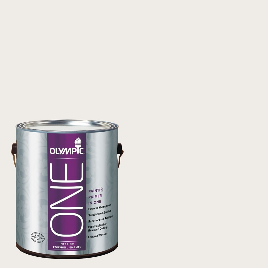 Olympic ONE Snowy Mount Eggshell Latex Interior Paint and Primer In One (Actual Net Contents: 124-fl oz)