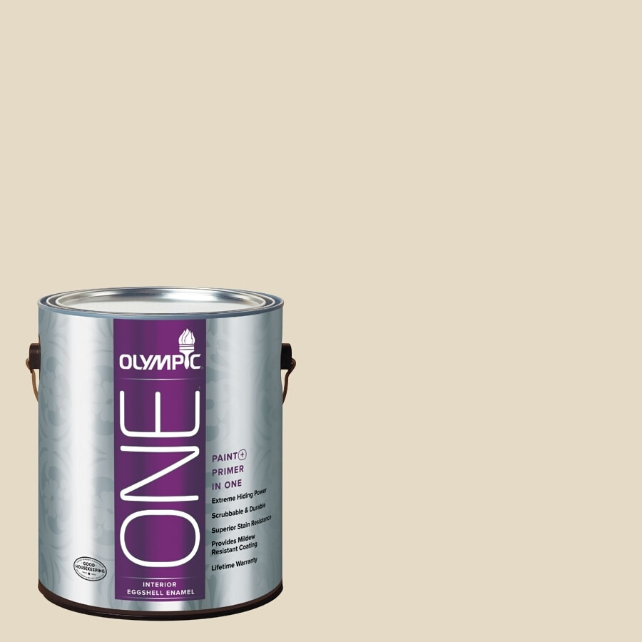 Olympic ONE Navajo White Eggshell Latex Interior Paint and Primer In One (Actual Net Contents: 124-fl oz)