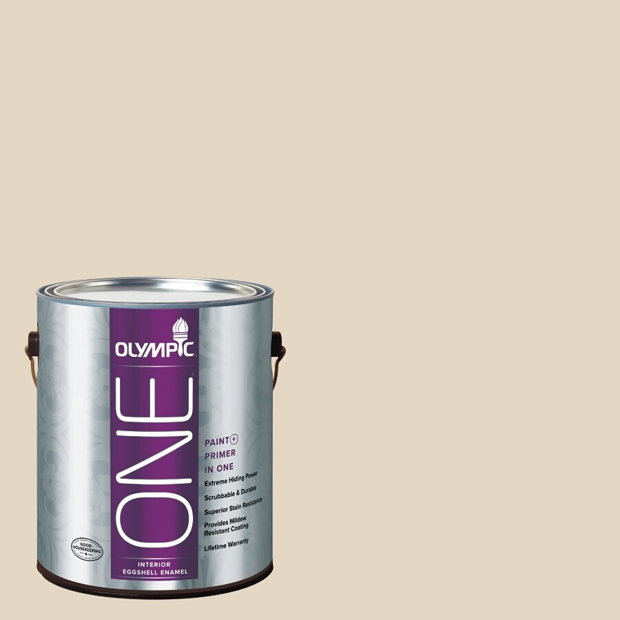 Olympic ONE BONE White Eggshell Latex Interior Paint and Primer In One (Actual Net Contents: 124-fl oz)