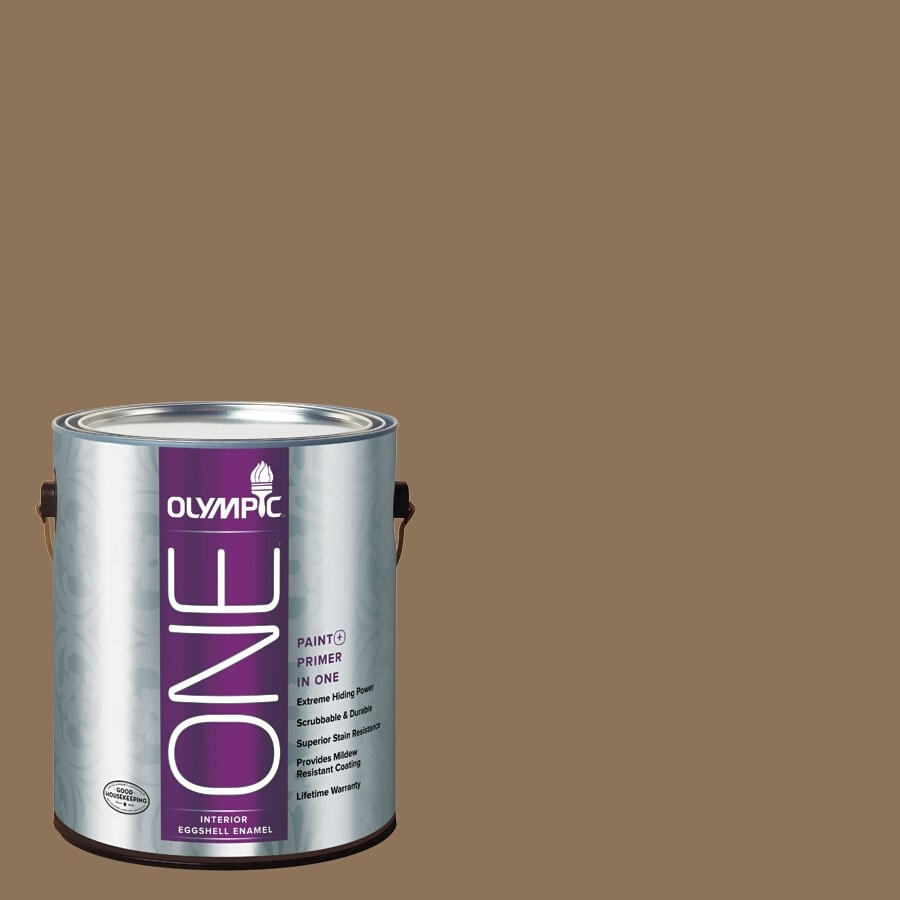 Olympic ONE Hat Box Brown Eggshell Latex Interior Paint and Primer In One (Actual Net Contents: 114-fl oz)