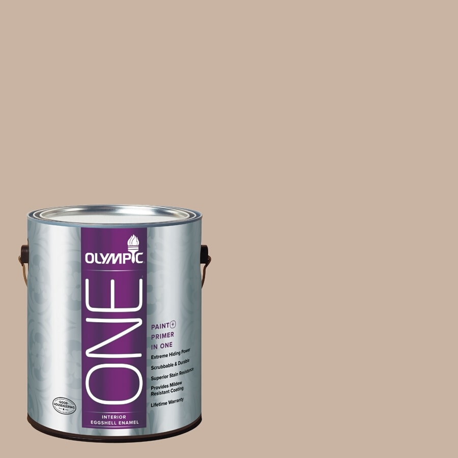 Olympic ONE Timeless Taupe Eggshell Latex Interior Paint and Primer In One (Actual Net Contents: 124-fl oz)
