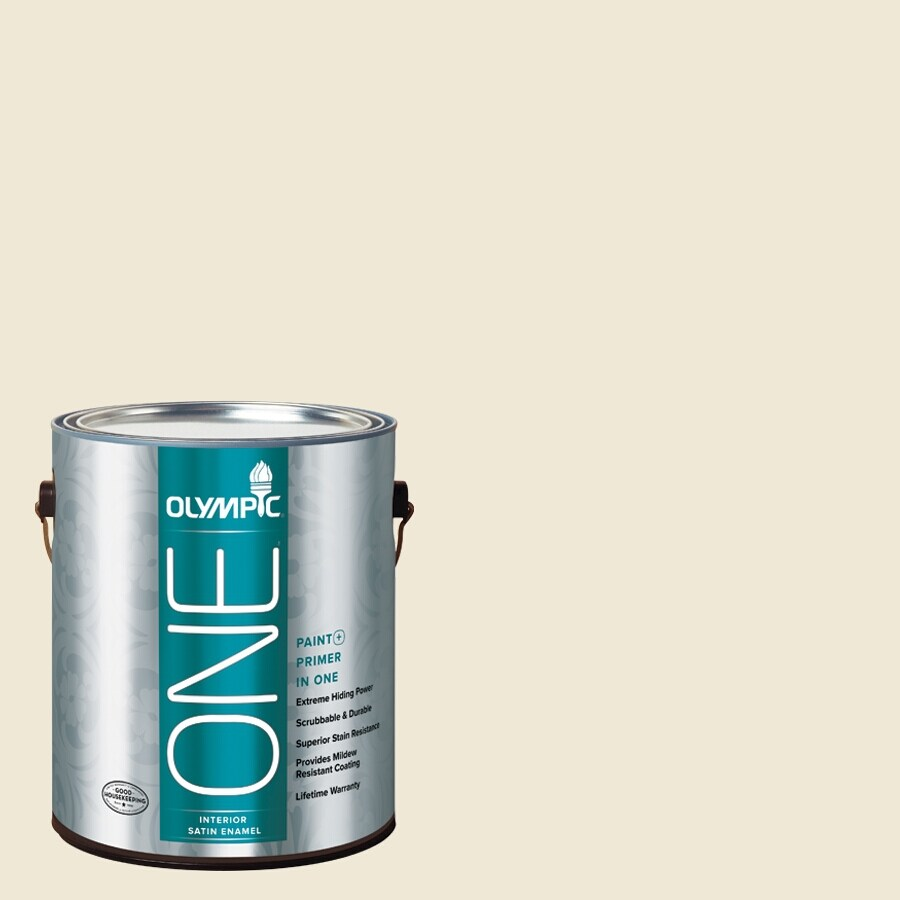 Olympic ONE Creamy White Satin Latex Interior Paint and Primer In One (Actual Net Contents: 124-fl oz)