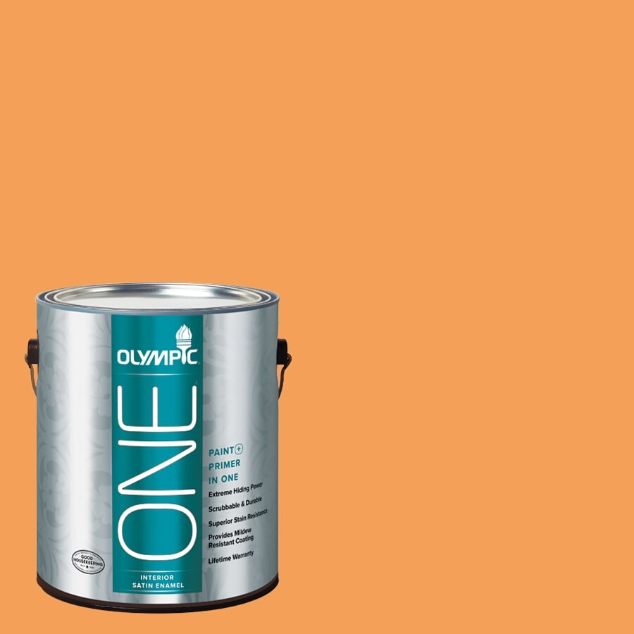 Olympic ONE Mandarin Satin Latex Interior Paint and Primer In One (Actual Net Contents: 114-fl oz)