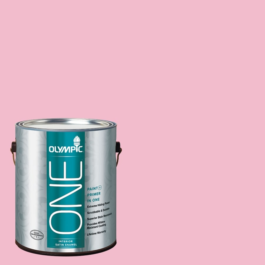Olympic ONE Pink Persuasion Satin Latex Interior Paint and Primer In One (Actual Net Contents: 124-fl oz)