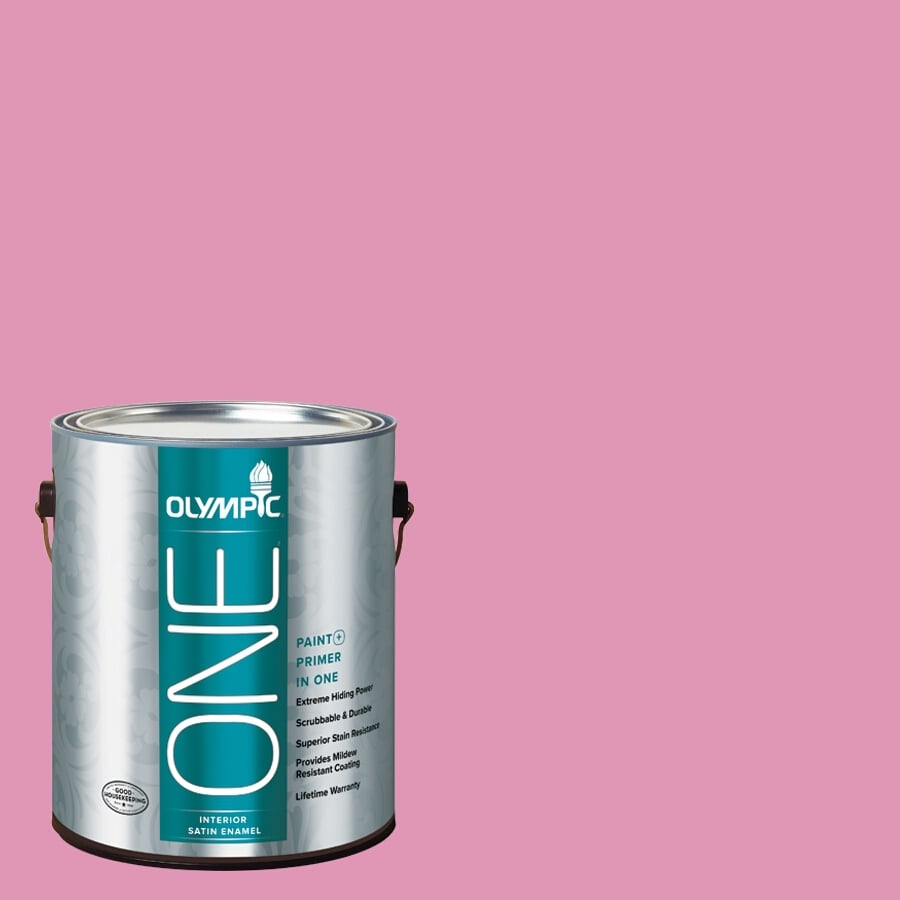 Olympic ONE Muted Fuchsia Satin Latex Interior Paint and Primer In One (Actual Net Contents: 116-fl oz)