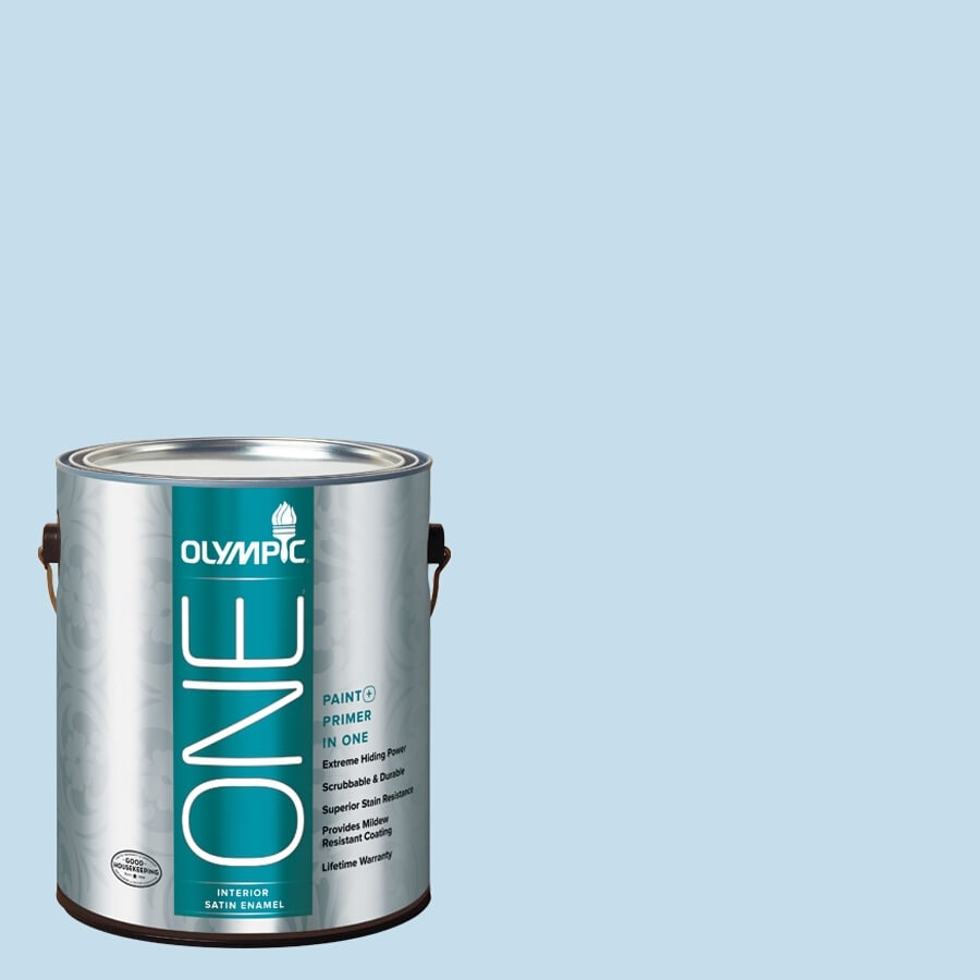 Olympic ONE Blue Booties Satin Latex Interior Paint and Primer In One (Actual Net Contents: 124-fl oz)