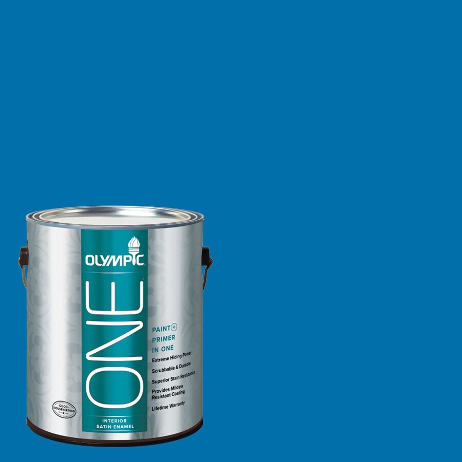 Olympic ONE Cobalt Blue Satin Latex Interior Paint and Primer In One (Actual Net Contents: 114-fl oz)