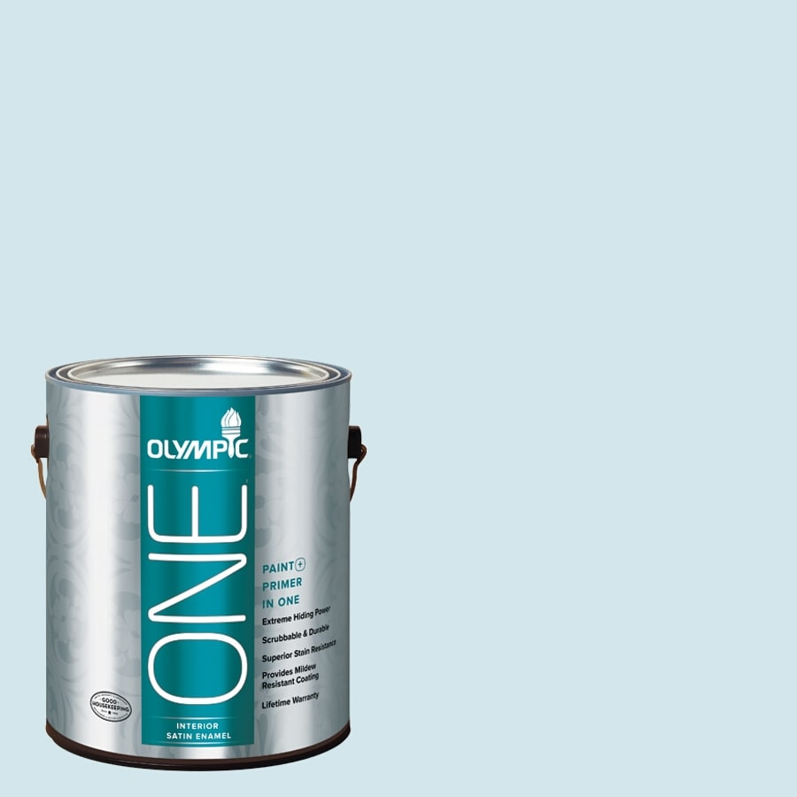 Olympic ONE Ocean Breeze Satin Latex Interior Paint and Primer In One (Actual Net Contents: 124-fl oz)