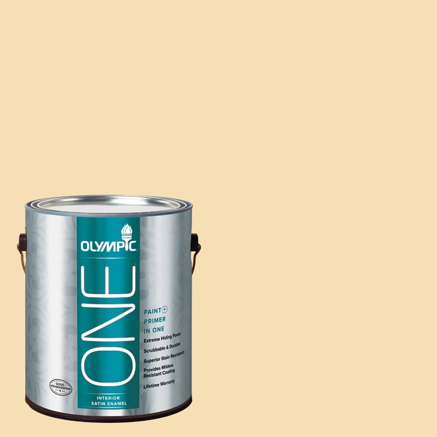 Olympic ONE Cornmeal Satin Latex Interior Paint and Primer In One (Actual Net Contents: 124-fl oz)