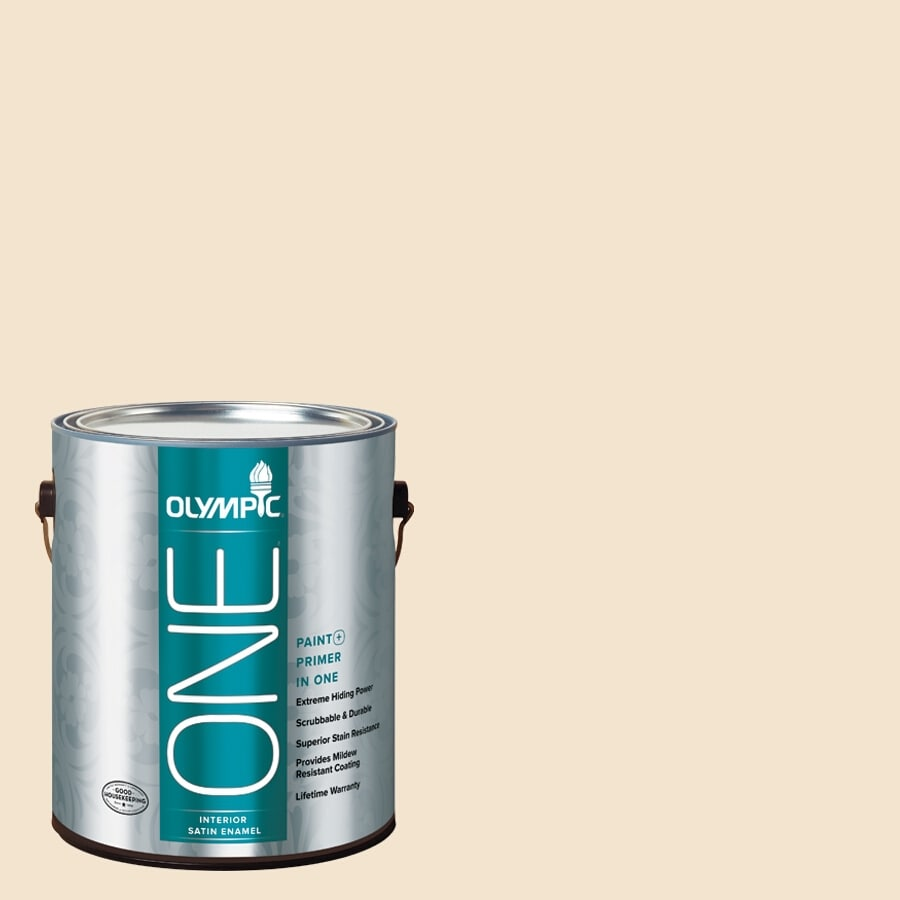 Olympic ONE Golden Mushroom Satin Latex Interior Paint and Primer In One (Actual Net Contents: 124-fl oz)
