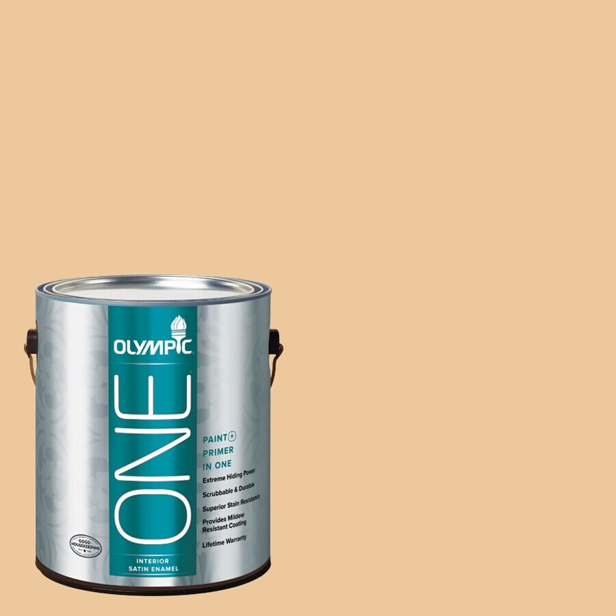Olympic ONE Toffee Crunch Satin Latex Interior Paint and Primer In One (Actual Net Contents: 124-fl oz)