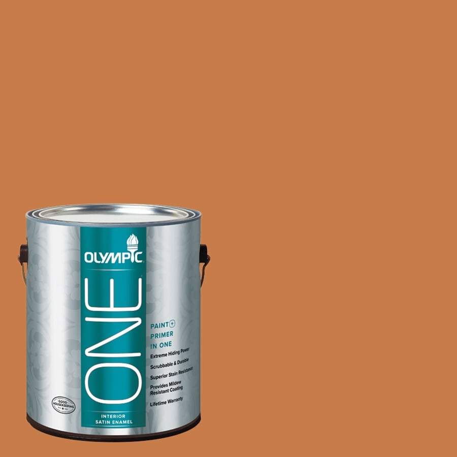 Olympic ONE Gingerbread Satin Latex Interior Paint and Primer In One (Actual Net Contents: 114-fl oz)