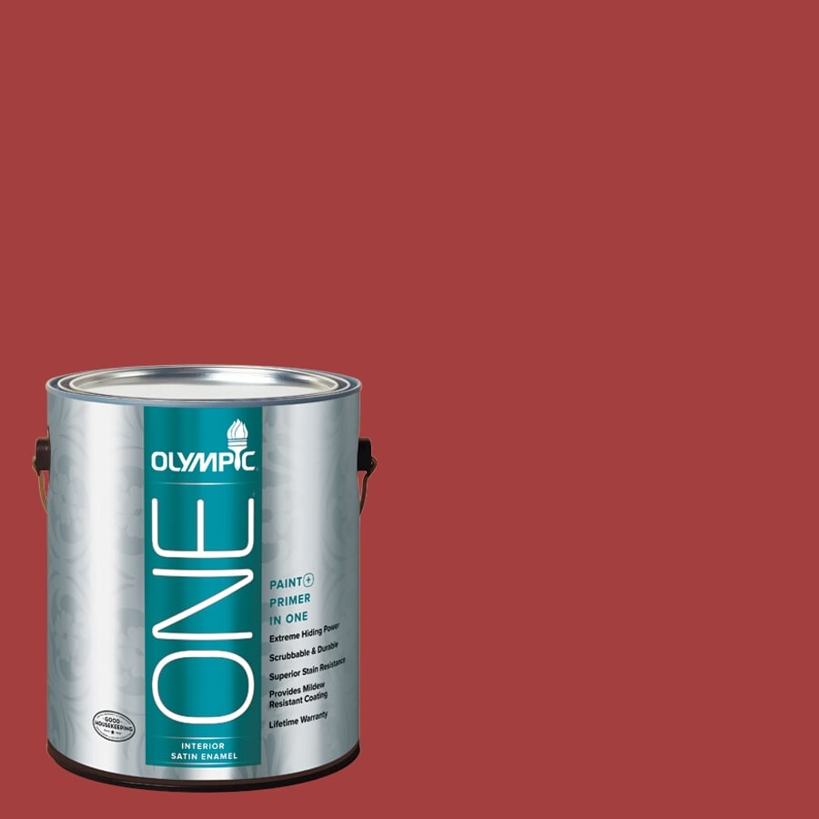 Olympic ONE Red Gumball Satin Latex Interior Paint and Primer In One (Actual Net Contents: 114-fl oz)