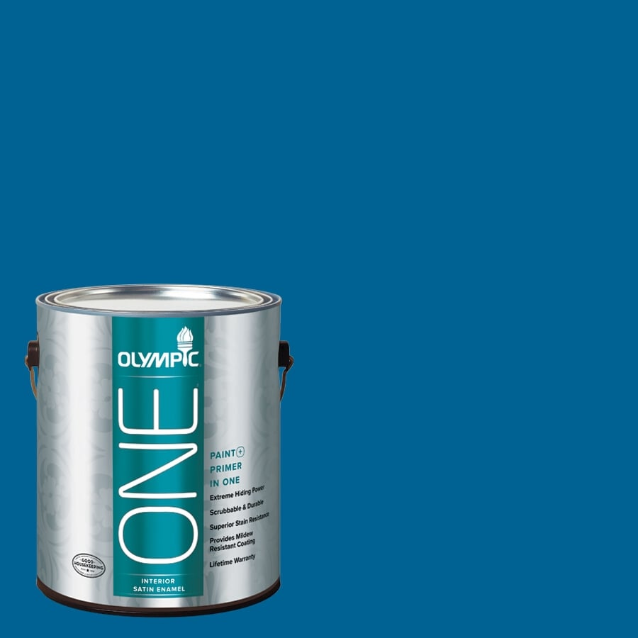 Olympic ONE Suddenly Sapphire Satin Latex Interior Paint and Primer In One (Actual Net Contents: 114-fl oz)