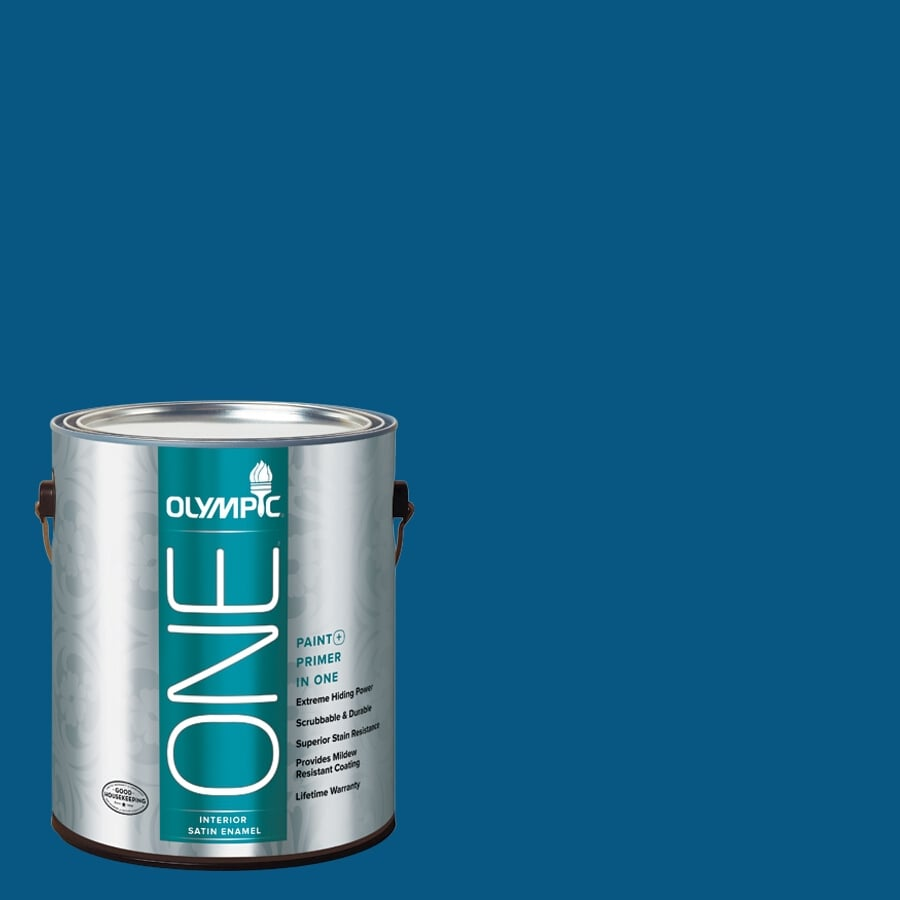 Olympic ONE Brilliant Blue Satin Latex Interior Paint and Primer In One (Actual Net Contents: 114-fl oz)