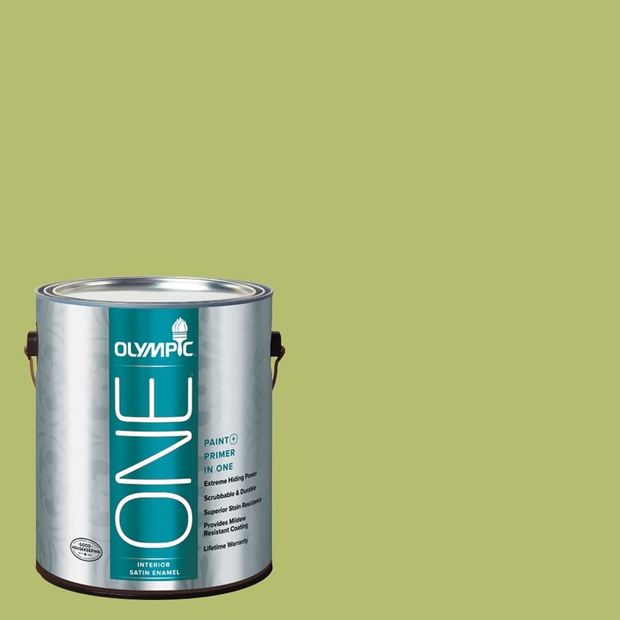 Olympic ONE Lime Green Satin Latex Interior Paint and Primer In One (Actual Net Contents: 116-fl oz)