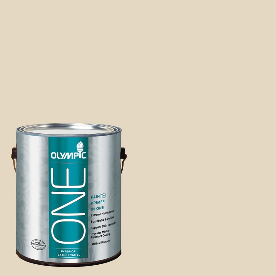 Olympic ONE Almond Paste Satin Latex Interior Paint and Primer In One (Actual Net Contents: 124-fl oz)