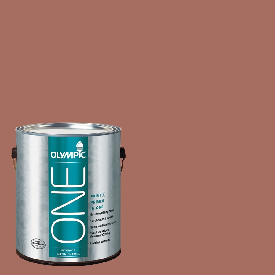 Olympic ONE Amaretto Satin Latex Interior Paint and Primer In One (Actual Net Contents: 116-fl oz)