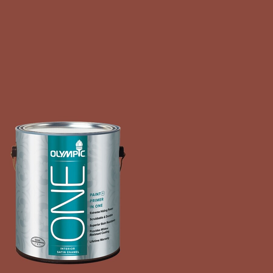 Olympic ONE Cedar Chest Satin Latex Interior Paint and Primer In One (Actual Net Contents: 114-fl oz)