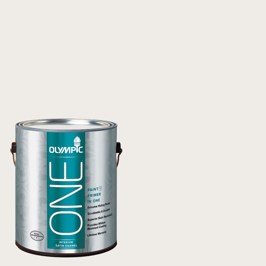 Olympic ONE Snowy Mount Satin Latex Interior Paint and Primer In One (Actual Net Contents: 124-fl oz)