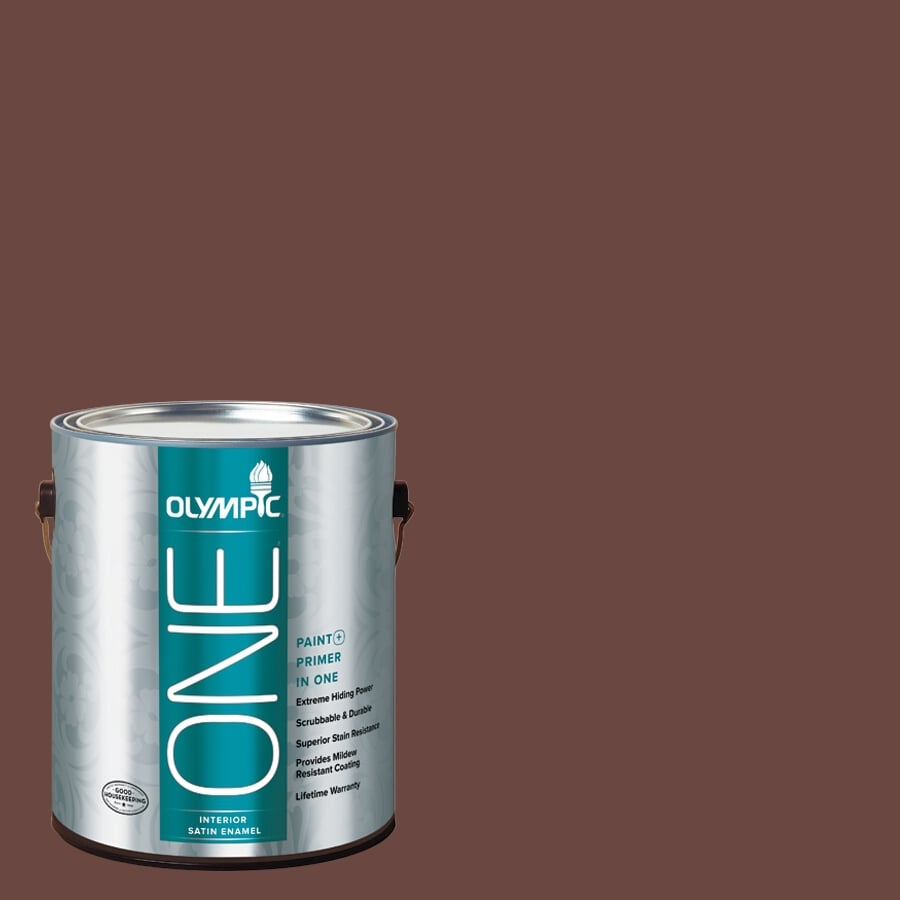 Olympic ONE Warm Mahogany Satin Latex Interior Paint and Primer In One (Actual Net Contents: 114-fl oz)