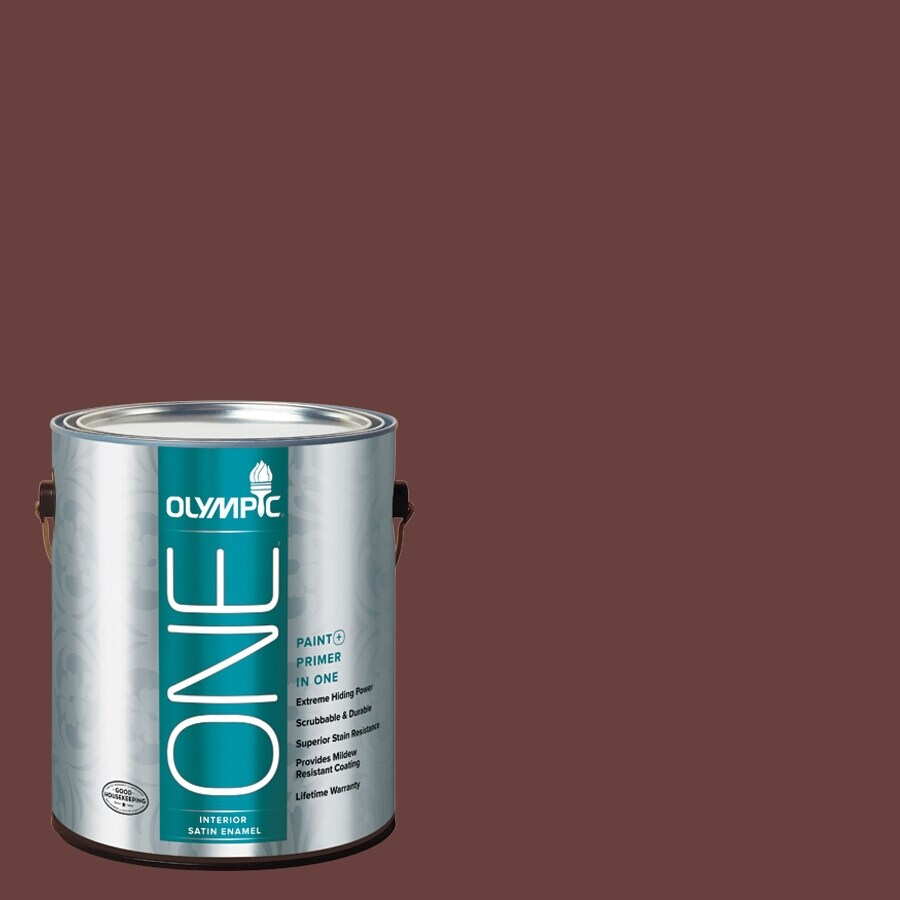 Olympic ONE Burgundy Wine Satin Latex Interior Paint and Primer In One (Actual Net Contents: 114-fl oz)