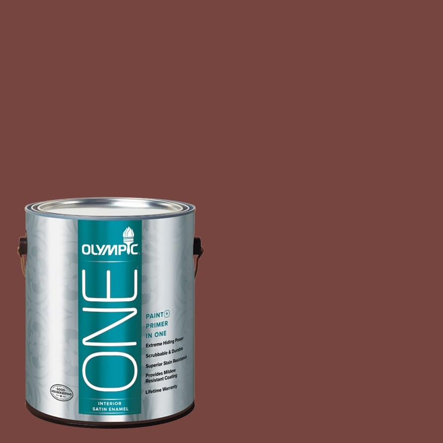 Olympic ONE Sweet Spiceberry Satin Latex Interior Paint and Primer In One (Actual Net Contents: 114-fl oz)