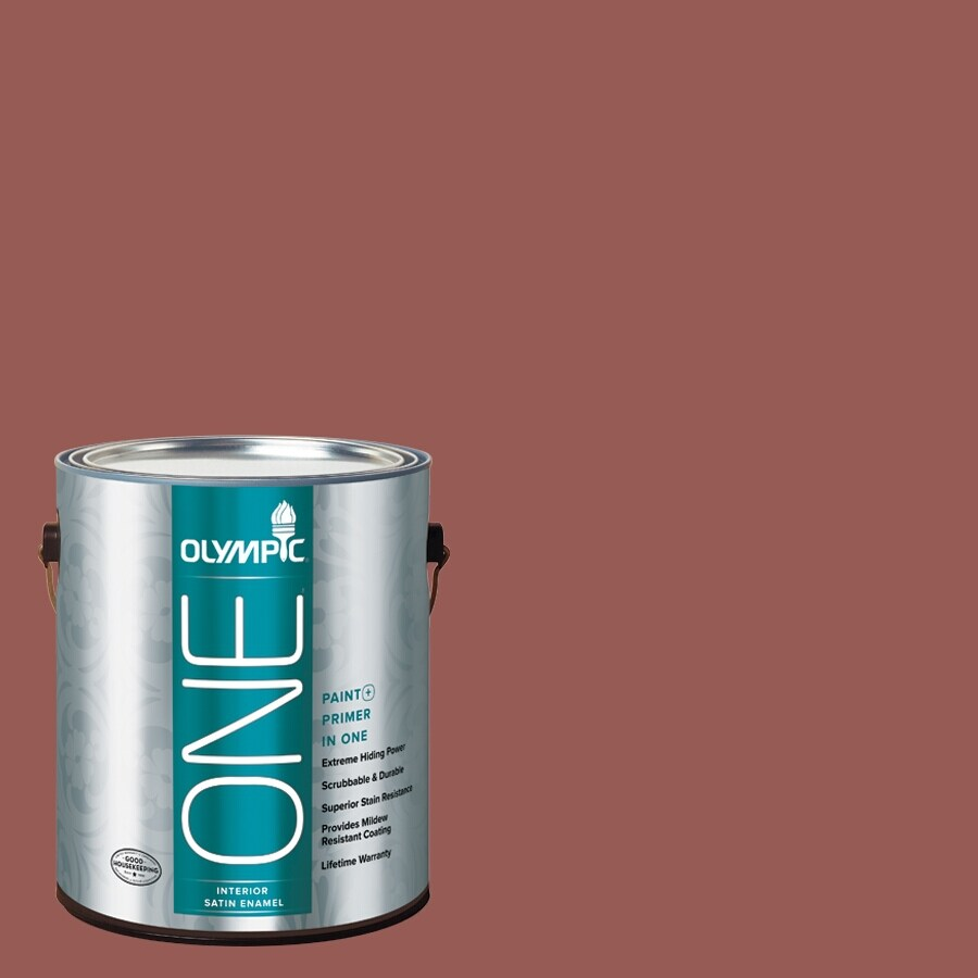 Olympic ONE Fire Weed Satin Latex Interior Paint and Primer In One (Actual Net Contents: 114-fl oz)