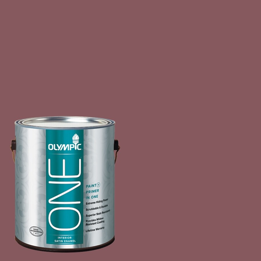Olympic ONE Old Burgundy Satin Latex Interior Paint and Primer In One (Actual Net Contents: 114-fl oz)