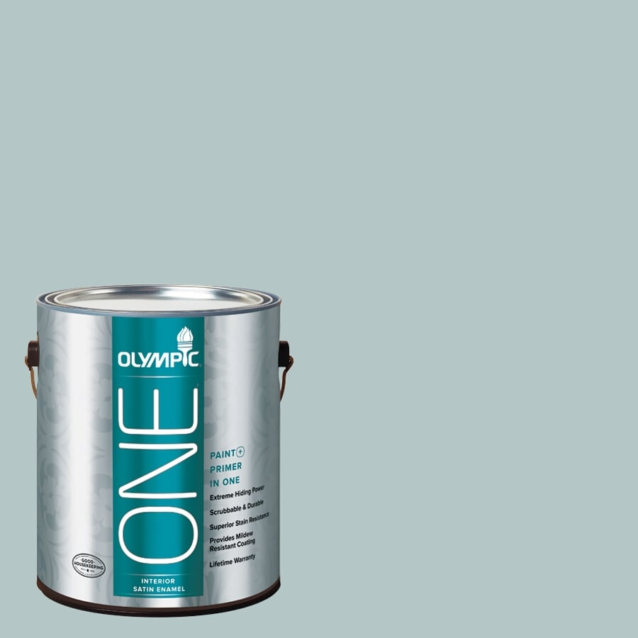 Olympic ONE Misty Surf Satin Latex Interior Paint and Primer In One (Actual Net Contents: 124-fl oz)