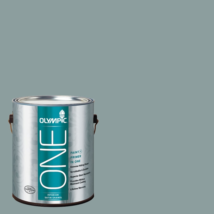 Olympic ONE Aqua Smoke Satin Latex Interior Paint and Primer In One (Actual Net Contents: 116-fl oz)