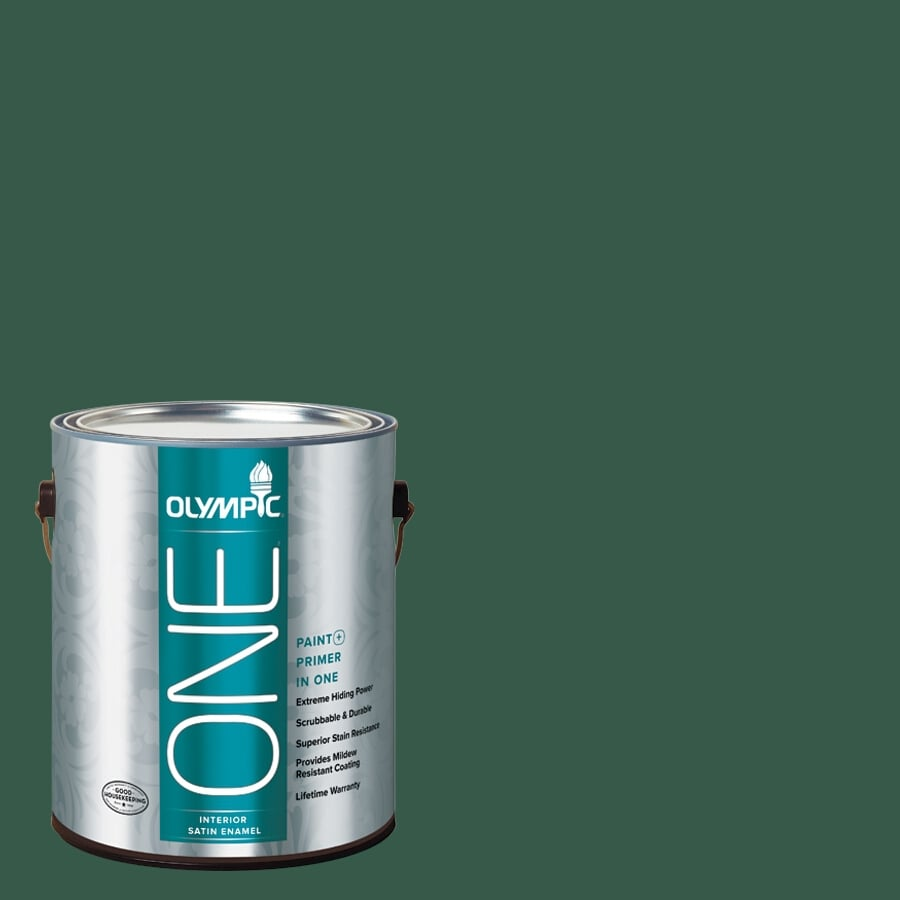 Olympic ONE Billiard Green Satin Latex Interior Paint and Primer In One (Actual Net Contents: 114-fl oz)